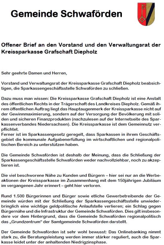 Offener Brief©Samtgemeinde Schwaförden