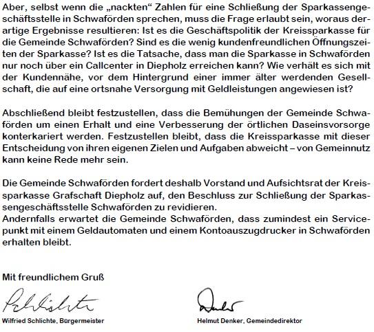 Offener Brief 2©Samtgemeinde Schwaförden