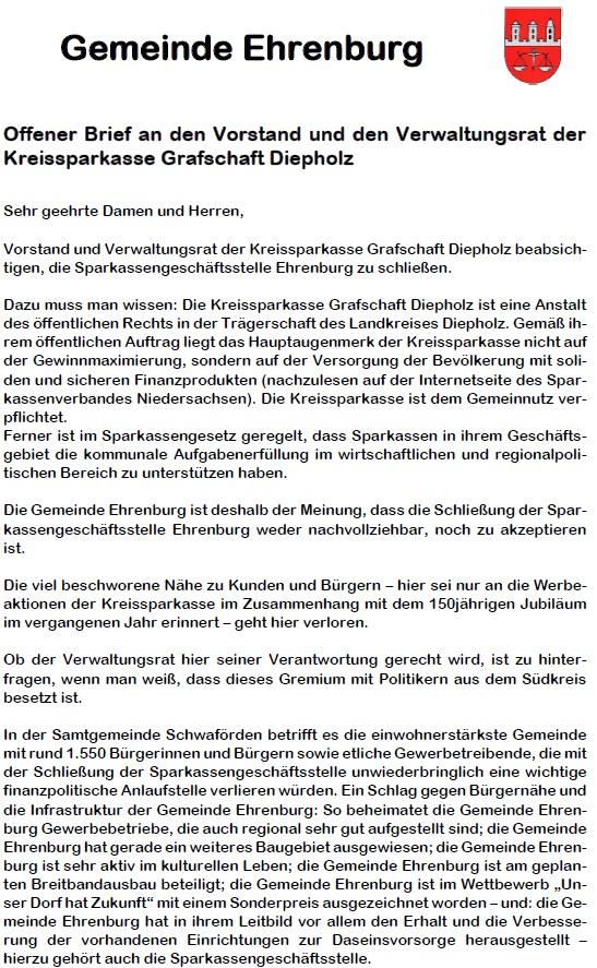 Offener Brief Gemeinde Ehrenburg 1©Samtgemeinde Schwaförden
