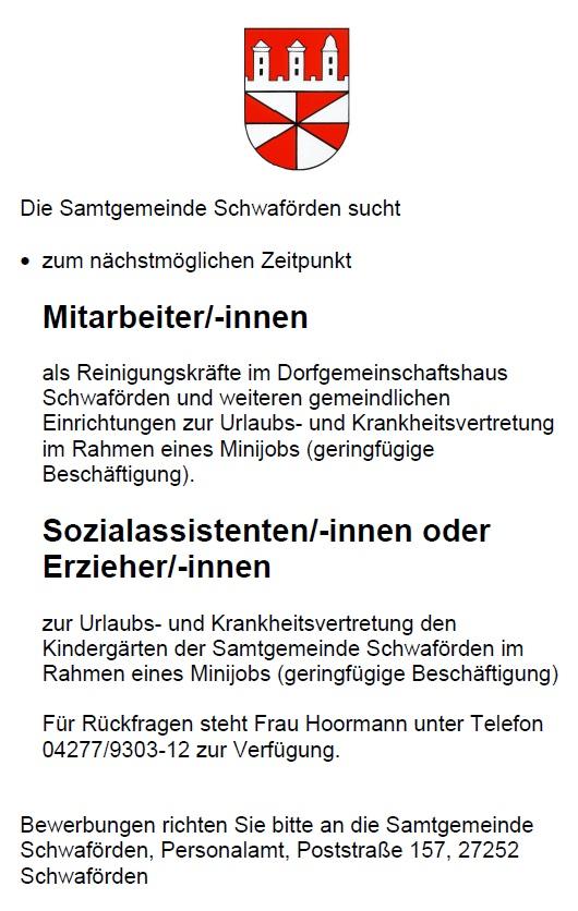 Stellenausschreibung©Samtgemeinde Schwaförden